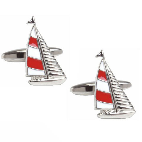 Red and White Yacht Cufflinks