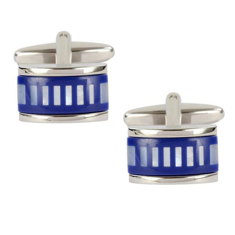 Mother of Pearl and Blue Striped Cufflinks