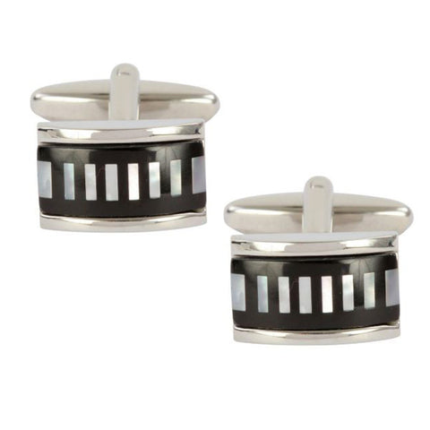 Mother of Pearl and Onyx Striped Cufflinks