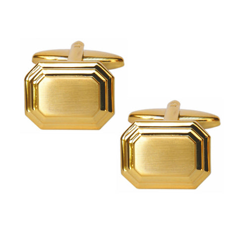 Shiny and Brushed Cut Corner Cufflinks