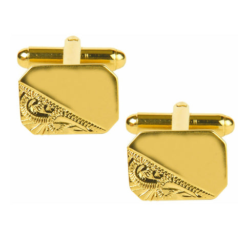 Third Engraved Design, Gold Plate Cut Corner Cufflinks