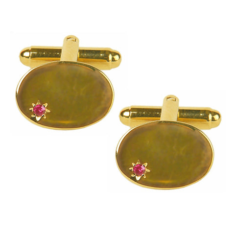 Oval Ruby Star Set Cufflinks