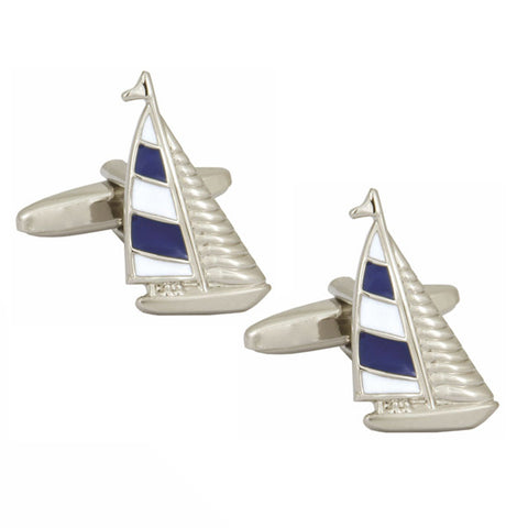 Blue and White Yacht Cufflinks