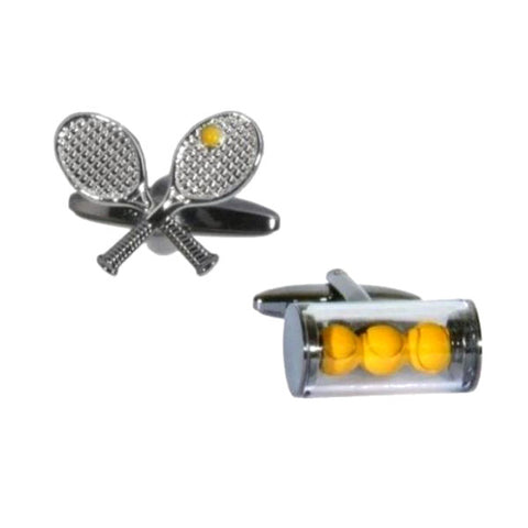 Tennis Racket and Balls Cufflinks