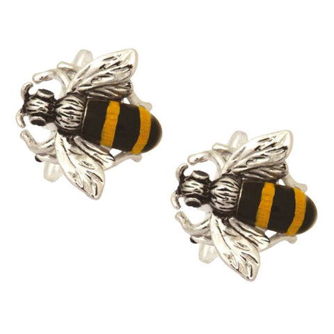 Rhodium Plated Bee Cufflinks