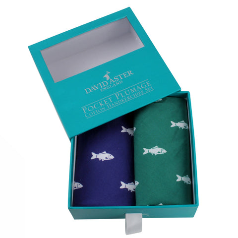 Green and Blue Fish Cotton Handkerchief Set