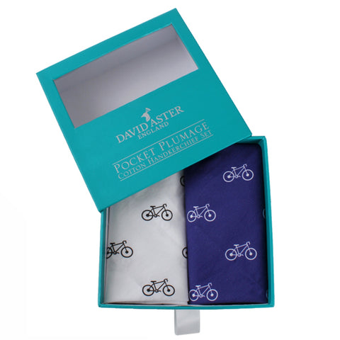 Blue and White Bicycle Cotton Handkerchief Set