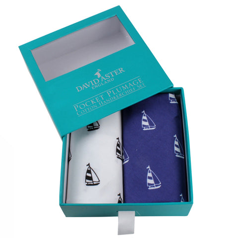 Blue and White Yacht Cotton Handkerchief Set