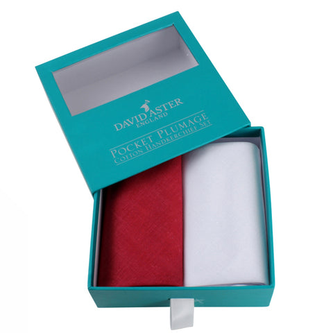 Red and White Plain Cotton Handkerchief Set