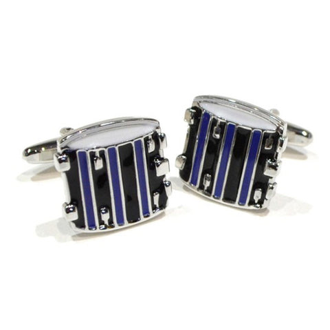 Blue and Black Drum Cufflinks