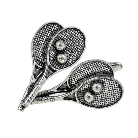 Pewter Tennis Rackets Cufflinks