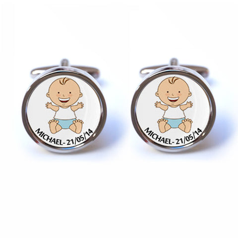 Baby Boy Cufflinks with Personalised Name and Date