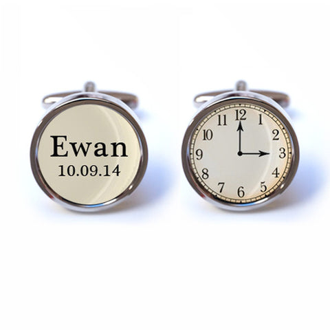 Baby Keepsake Cufflinks with Custom Time, Name and Date