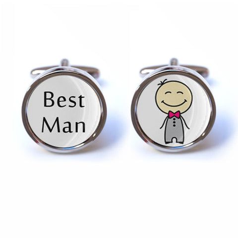 Best Man Cufflinks with Illustration