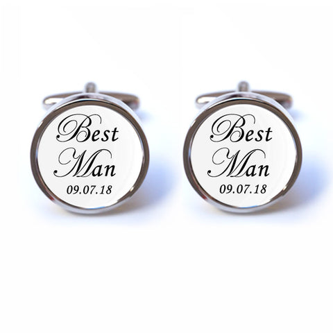 Best Man Cufflinks - Personalised Date