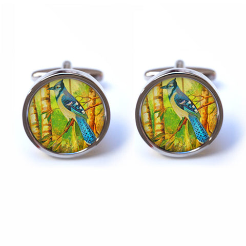 Bird Cufflinks - Bird on Tree Cufflinks