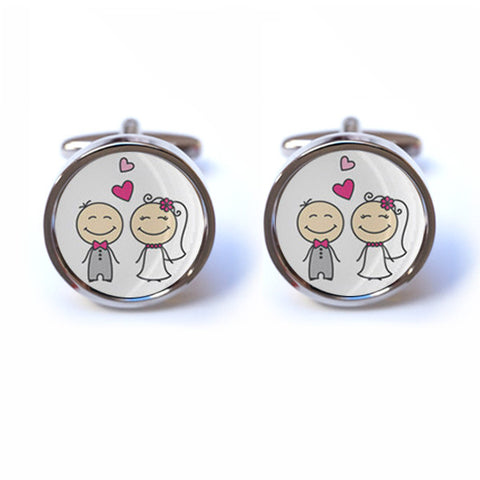 Bride and Groom Illustration Cufflinks