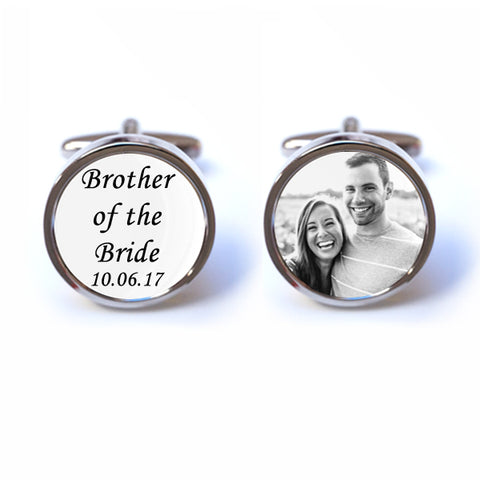 Personalised Brother of the Bride Photo Cufflinks