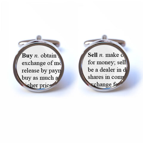 Buy - Sell Word Definition Cufflinks