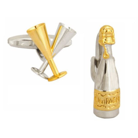 Champagne Bottle and Glasses Cufflinks