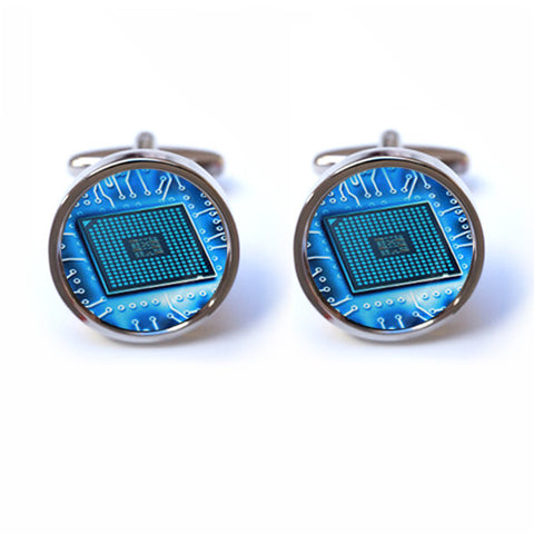 Blue Circuit Board Cufflinks