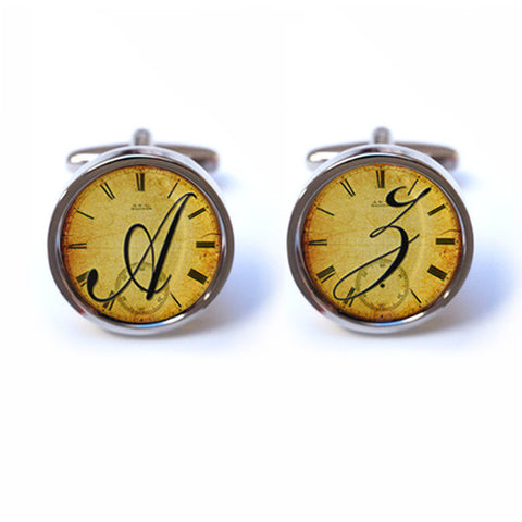 Initial Cufflinks on Vintage Clock Background