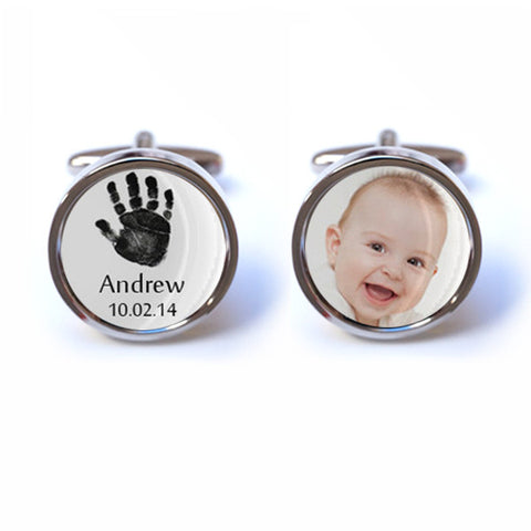 Baby Keepsake Cufflinks with Personalised Name, Date and Photo