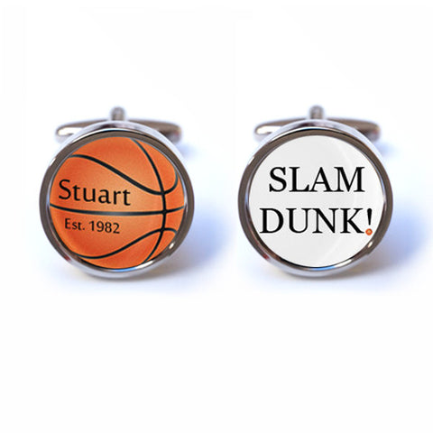 Basketball Cufflinks with Personalised Name and Date