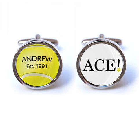 Tennis Cufflinks with Personalised Name and Date