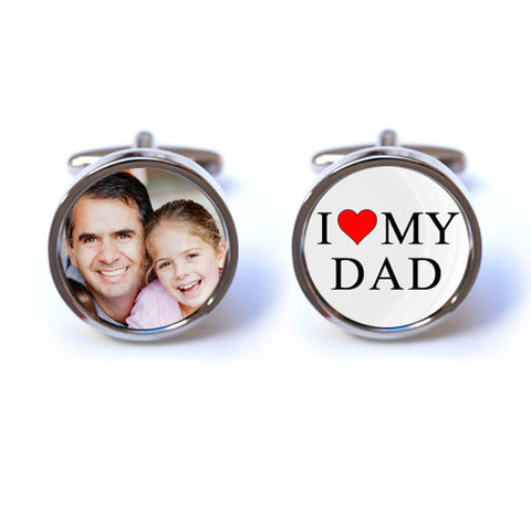 I Love My Dad Cufflinks with Custom Photo