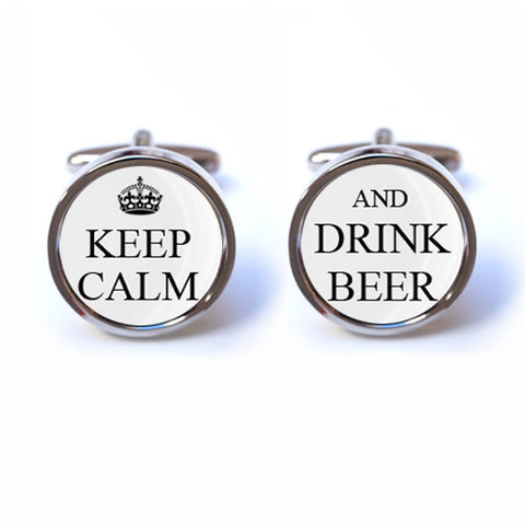 Keep Calm and Drink Beer Cufflinks