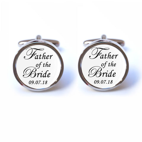 Father of the Bride Cufflinks - Personalised Date