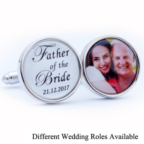 Personalised Father of the Bride Photo Cufflinks