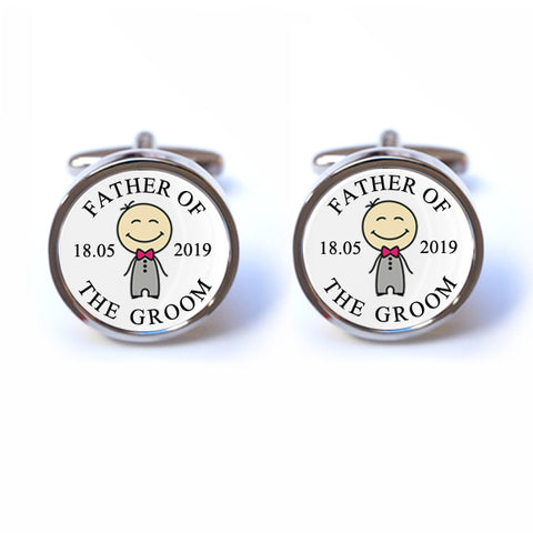 Personalised Father of the Groom Cufflinks with Illustration
