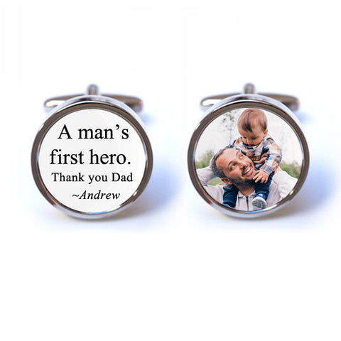 A Man's First Hero Photo Cufflinks