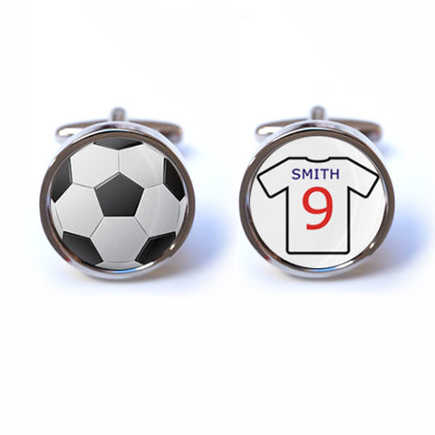 Football Cufflinks with Personalised Shirt