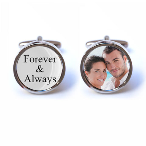 Forever and Always Cufflinks with Custom Photo