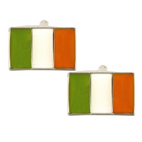 Rhodium Plated Irish Flag Cufflinks