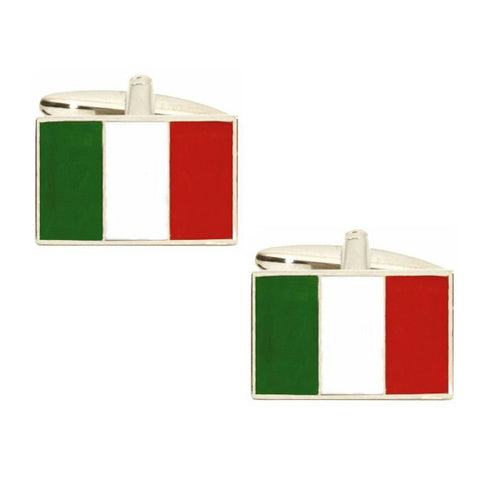 Rhodium Plated Italian Flag Cufflinks