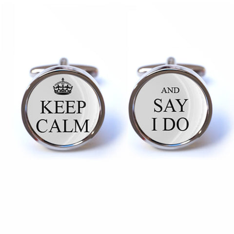 Keep Calm and Say I Do Wedding Cufflinks