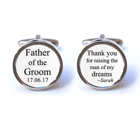 Custom Thank you for Raising the Man of my Dreams Cufflinks