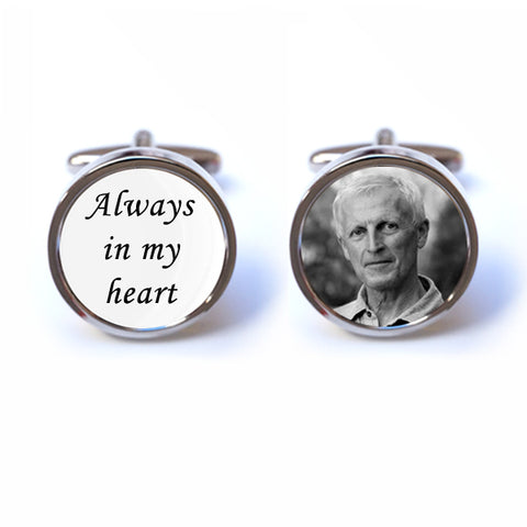 Custom Memorial Cufflinks - Always in my Heart