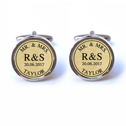 Personalised Groom Mr and Mrs Cufflinks