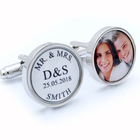 Personalised Mr and Mrs Wedding Cufflinks