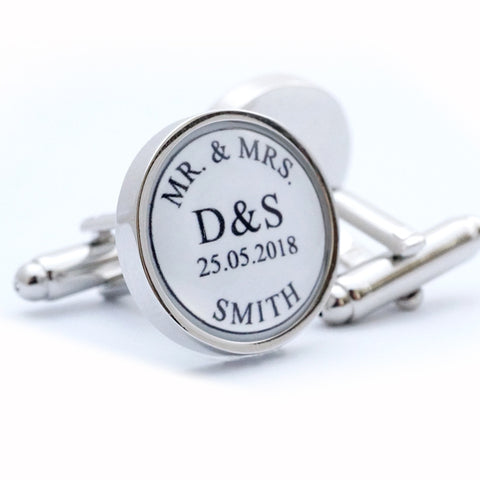Custom Mr and Mrs Wedding Cufflinks