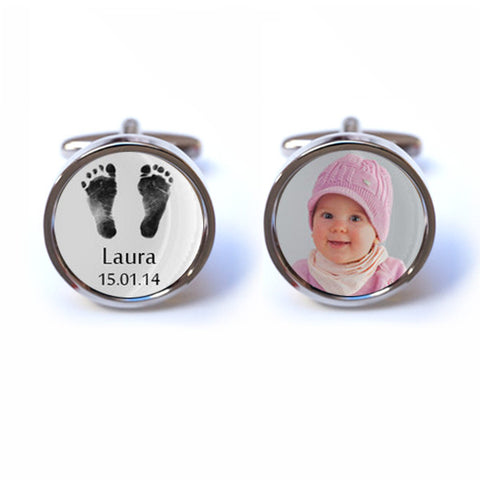 Baby Footprint Cufflinks with Personalised Name, Date and Photo
