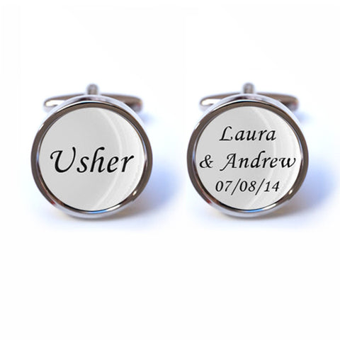 Usher Cufflinks with Personalised Text and Date