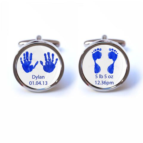 Personalised Baby Handprint and Footprint Cufflinks