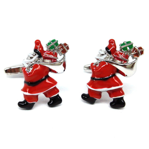 Santa Carrying a Sack of Presents Cufflinks