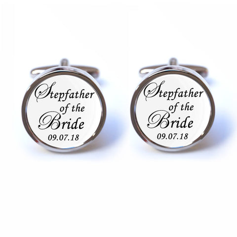 Stepfather of the Bride Cufflinks - Personalised Date